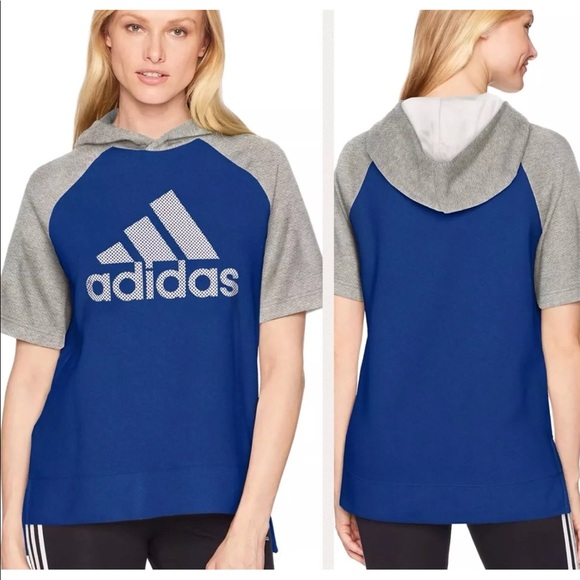 536b5181bfb Adidas Short Sleeve Fashion Hoodie Blue Sz Small